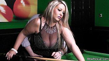 Stranger bangs lovely BBW in nylons on the pool table