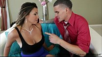 Sexy brunette Danica Dillon shows her huge tits and gets ass fucked