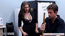 Stockinged cutie Alex Chance nailed in the office