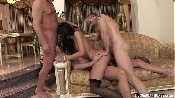 Euro babe ass fucked by 3 guys in gangbang