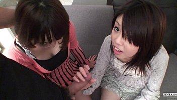Subtitled Uncensored POV Japanese CFNM threesome blowjob in Full HD