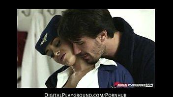 Big tit brunette French Flight Attendant Fucks husbands hard Liza del sierra