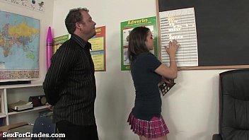 Slutty Schoolgirl Fucks 2 Teachers After Class!