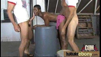 Ebony girlfriend takes huge loads of cum on her face 13