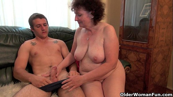 Voluptuous grandma rides cock on the couch