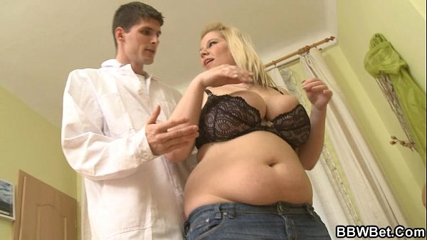 Horny doc bangs her fat pussy from behind