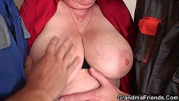 Nasty granny double penetration