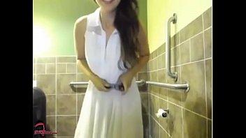 Slut masterbates in public bathroom 14 min