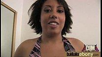 Ebony girlfriend takes huge loads of cum on her face 2