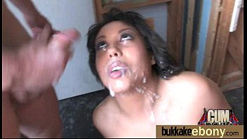Ebony girlfriend takes huge loads of cum on her face 3