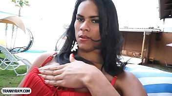 Big tits tranny from Brazil outdoor blowjob and butt fucking
