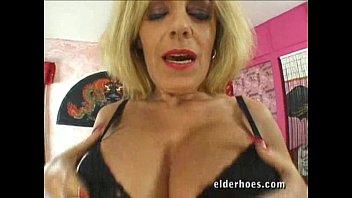 Granny with a boob job gets fucked