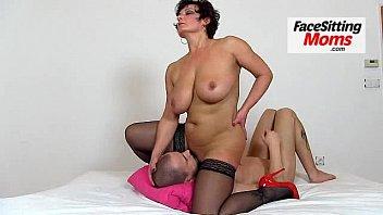 Hot legs amateur lady Beate facesitting young bloke