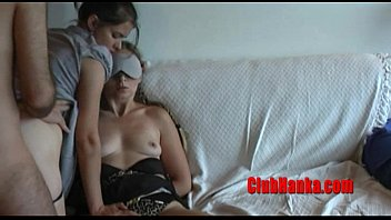 While Hanka is tied and blinfolded, her friend gets fucked