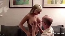 German Blonde Skinny Teen with Big Boobs Fuck Old User in Your Home