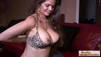 Hot GILF gets motorboated and fucked by a black stud