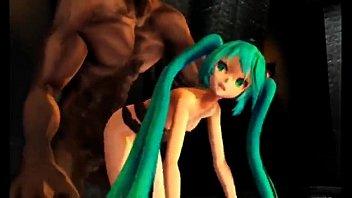 Hatsune miku destroyed by demon MMD-R18