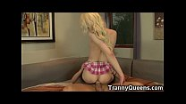92 lbs Tranny Coed Cums While Analed!