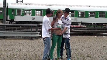 Young teens risky PUBLIC railway station threesome 21 min