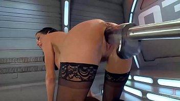 Giant dildo with machine make she flow all around