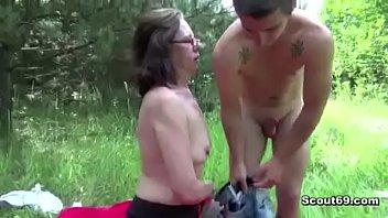 18yr old Boy Fuck 61yr old Hairy Granny in Ass in Public