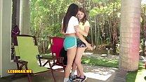 Hot & seductive brunette kissing friend teen