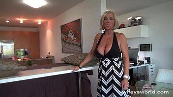 Busty Blonde MILF Sucks And Swallows Cum