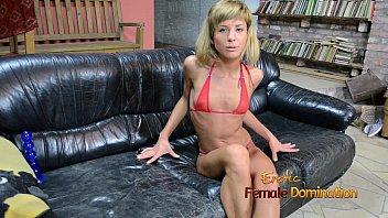 Skinny girl having a huge dildo in her pussy