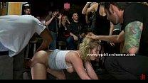 Fat blonde d. in public group sex