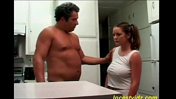 Bad daddy fucks his hot busty daughter in kitchen