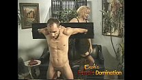 Busty milfs play with a skinny loser in the dungeon-6