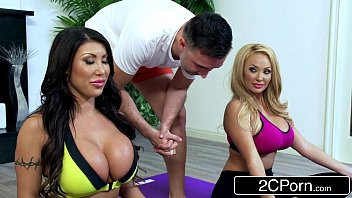 Bored Huge Tit Housewives August Taylor & Summer Brielle Share a Yoga Instructor