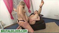 Amanda anal gaped by friend with b. strapon dildo