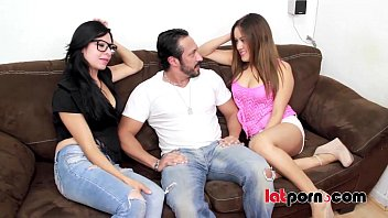 Two sexy latinas share one big dick