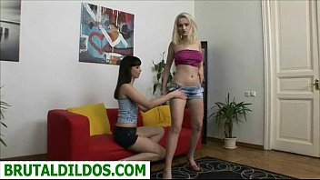 Hot blonde fucked in the ass by friend with huge dildo