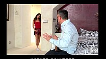 Hot young Latina babysitter fucked by cheating husband's big-dick