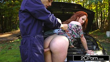Redhead British Teen Slut Ella Hughes Takes Mechanic's Big Fleshy Tool