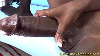 Ebony tgirl beauty jerking her bigcock