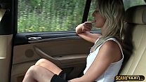Short skirt minx rides cock in taxi in reverse cowgirl