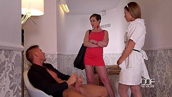 DDF Network Horny maid and wife drain a Husbands balls to Empty