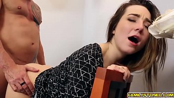 Dad fucks Bambi Brooks wide spread pussy in the office 6 min