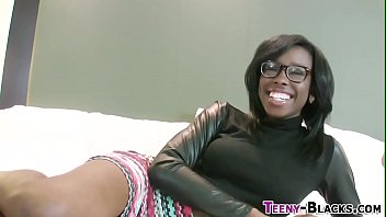 Ebony babe gets cumshot