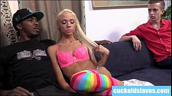 Very skinny blonde playing with big black cock