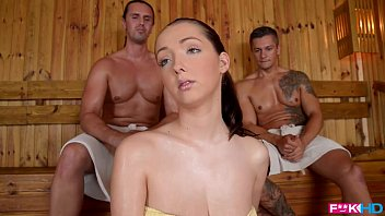 FuckinHD - Lucie Wilde hot Fuck with 2 guys in the Sauna 20 min