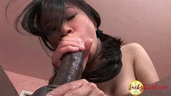 Damn pretty young asian fuck pussy being impaled by huge black cock