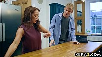 Busty m. in law seduces the husband in the kitchen