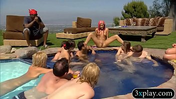 Horny swingers wild party and had oral sex by the pool