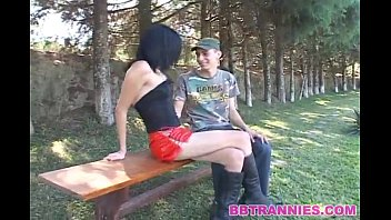Skinny shemale cums in the mouht of her man