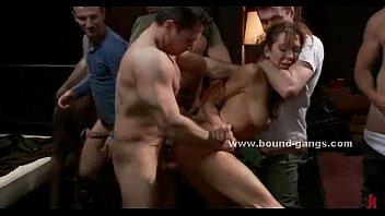 Hot busty slut caught in gangbang sex