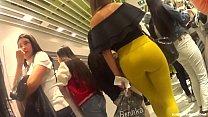 Candid - Classy Latin Babe in Yellow Leggings & High Heels